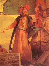 "Titre original :    Description Painting of John Cabot. Date 1762(1762) Source John Cabot in traditional Venetian garb by Giustino Menescardi (1762). A mural painting in the 'Sala dello Scudo' in the Palazzo Ducale. Taken from a reproduction in ""History of Maritime maps"", Donald Wigal Author Giustino Menescardi"